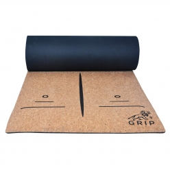 Grip Cork Yoga Mat 7mm with 2 Cork Yoga Brick (Brown Color)