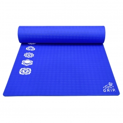 Grip 24 Inches x 72 Inches, 10MM Thickness, Blue Color, 7 Chakras Design Yoga Mats For Men & Women.