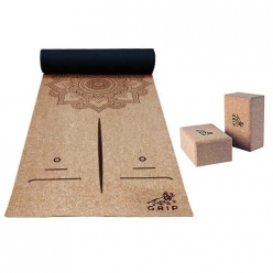 Grip Cork Yoga Mat 3 mm with 2 Cork Yoga Brick Combo