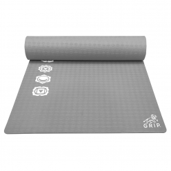 Grip 36 Inches x 78 Inches, 12MM Thickness, Grey Color, 7 Chakras Design Yoga Mats For Men & Women.