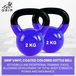 Grip Vinyl Coated Cast Iron Colored Kettlebell with Wide Handles for Cross Training, Swings, Body Workout and Muscle Exercise | Blue Color