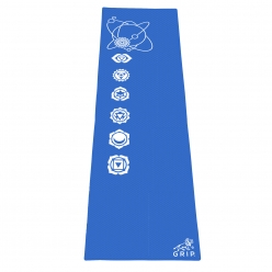 Grip 24 Inches x 72 Inches, 6MM Thickness, Blue Color, OnTheGoSeries Design Yoga Mats For Men & Women.