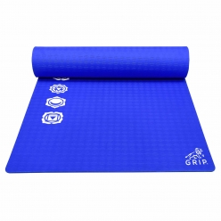 Grip 36 Inches x 78 Inches, 12MM Thickness, Blue Color, 7 Chakras Design Yoga Mats For Men & Women.