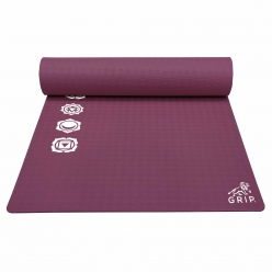 Grip 36 Inches x 78 Inches, 8MM Thickness, Cherry Color, 7 Chakras Design Yoga Mats For Men & Women.