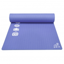Grip 36 Inches x 78 Inches, 12MM Thickness, Navy Blue Color, & Chakras Design Yoga Mats For Men & Women.