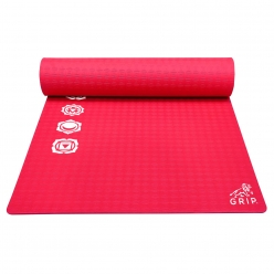 Grip 24 Inches x 72 Inches, 12MM Thickness, Red Color, 7 Chakras Design Yoga Mats For Men & Women.