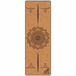 Grip Cork 24 Inches X 72 Inches, 3MM Thickness, Mandala Design Yoga Mats For Men & Women With Carry Strap & Bag.