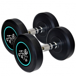 Grip Rubber Coated Round Dumbbell Set of 2 with steel grip.