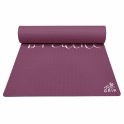 Grip 36 Inches x 78 Inches, 8MM Thickness, cherry Color, Just Breathe Design Yoga Mats For Men & Women.