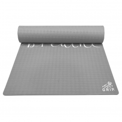 Grip 36 Inches x 78 Inches, 12MM Thickness, Grey Color, Just Breathe Design Yoga Mats For Men & Women.
