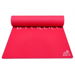 Grip 36 Inches x 78 Inches, 8MM Thickness, Red Color, Just Breathe Design Yoga Mats For Men & Women.