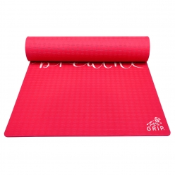Grip 24 Inches x 72 Inches, 8MM Thickness, Red Color, Just Breathe Design Yoga Mats For Men & Women.