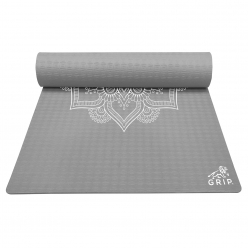Grip 36 Inches x 78 Inches, 12MM Thickness, Grey Color, Mandala Design Yoga Mats For Men & Women.