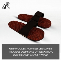Grip Wooden Acupressure Slipper / Sandals / Chappal For Men / Women, helps to maintain good health, gives you a soothing massage in the leg and for reflexology or relieves from strain and pain.