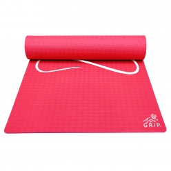 Grip 24 Inches x 72 Inches, 8MM Thickness, Red Color, Yog Asana Design Yoga Mats For Men & Women.