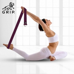 Grip Yoga Belt for Stretching, Yoga, Pilates, Gym, Physical Fitness to gain Flexibility & Achieve Difficult Poses | 2.5 Meter Premium Cotton | Eco Friendly | Easy to Use | Durable | Cherry Color