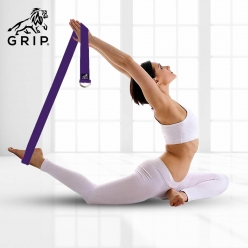Grip Yoga Belt for Stretching, Yoga, Pilates, Gym, Physical Fitness to gain Flexibility & Achieve Difficult Poses | 2.5 Meter Premium Cotton | Eco Friendly | Easy to Use | Durable | Purple Color