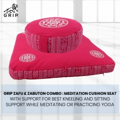 Grip Zafu & Zabuton Combo : Meditation Cushion Seat with Support for Best Kneeling and Sitting Support While Meditating or Practicing Yoga | Pink Color