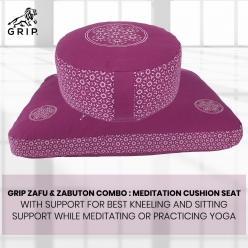 Grip Zafu & Zabuton Combo : Meditation Cushion Seat with Support for Best Kneeling and Sitting Support While Meditating or Practicing Yoga | Purple Color