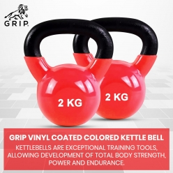 Grip Vinyl Coated Cast Iron Colored Kettlebell with Wide Handles for Cross Training, Swings, Body Workout and Muscle Exercise | Red Color