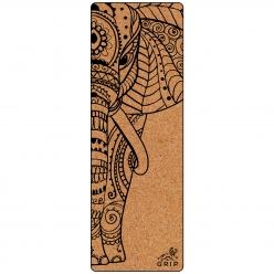 Grip Cork 24 Inches X 72 Inches, 7MM Thickness, Elephant Design Yoga Mats For Men & Women With Carry Strap & Bag.