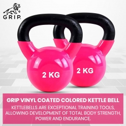 Grip Vinyl Coated Cast Iron Colored Kettlebell with Wide Handles for Cross Training, Swings, Body Workout and Muscle Exercise