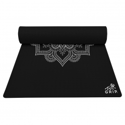 Grip 36 Inches x 72 Inches, 12MM Thickness, Black Color, Mandala Design Yoga Mats For Men & Women.