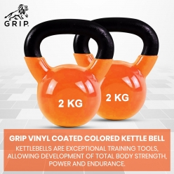 Grip Vinyl Coated Cast Iron Colored Kettlebell with Wide Handles for Cross Training, Swings, Body Workout and Muscle Exercise | Orange Color