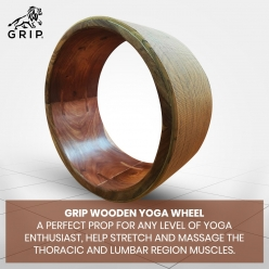 Grip Wooden Yoga Wheel - A Perfect Prop For Any Level Of Yoga Enthusiast, Help Stretch And Massage The Thoracic And Lumbar Region Muscles Improving Strength, Flexibility, And Balance, High Quality; 13 Inches Diameter