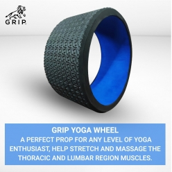 Grip Yoga Wheel - A Perfect prop for any level of yoga enthusiast, help stretch and massage the thoracic and lumbar region muscles improving strength, flexibility, and balance, High Quality; 13 Inches Diameter  | Blue Color
