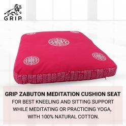 Grip Zabuton Meditation Cushion Seat for Best Kneeling and Sitting Support While Meditating or Practicing Yoga – Large Rectangular Floor Pillow with 100% Natural Cotton | Pink Color