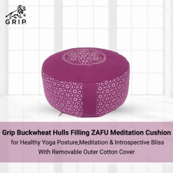 Grip Buckwheat Hulls Filling ZAFU Meditation Cushion for Healthy Yoga Posture, Meditation & Introspective Bliss with Removable Outer Cotton Cover | Purple Color