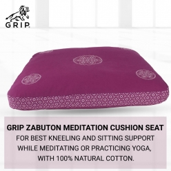 Grip Zabuton Meditation Cushion Seat for Best Kneeling and Sitting Support While Meditating or Practicing Yoga – Large Rectangular Floor Pillow with 100% Natural Cotton | Purple Color